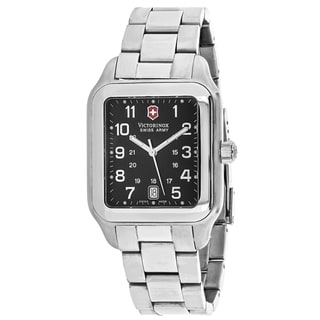 Swiss Army Men's 241067 Officers 1884 Rectangle Black dial Stainsless steel Bracelet Watch
