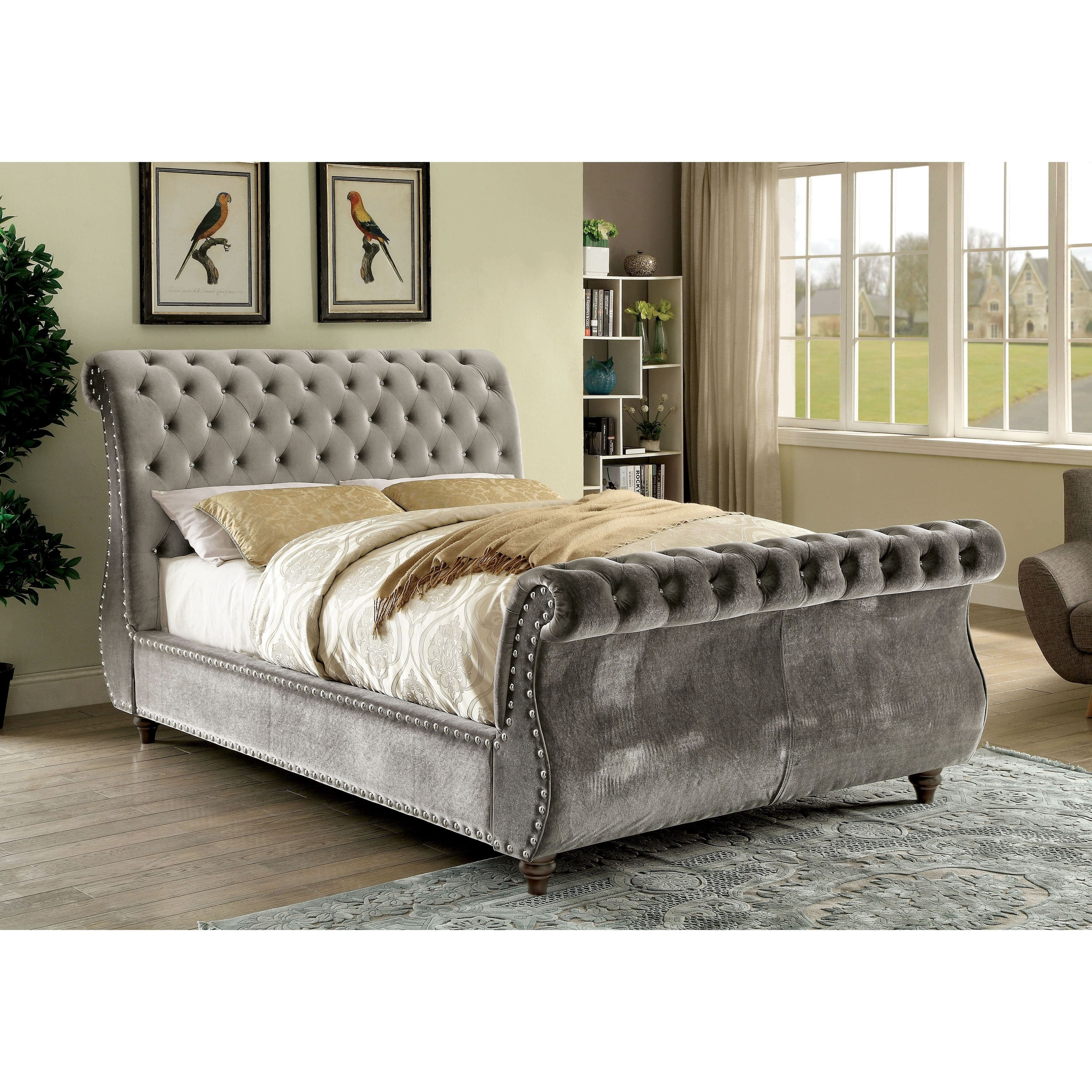 Shop Black Friday Deals On Furniture Of America Cown Contemporary Flannelette Tufted Sleigh Bed Overstock 12332405