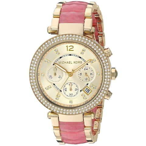 Michael Kors Women's MK6363 'Parker' Chronograph Crystal Two-Tone Stainless steel and Acetate Watch
