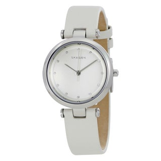 Skagen Women's SKW2517 'Tanja' Crystal White Leather Watch