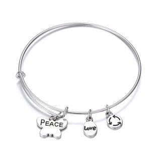 Peace Inspirational Charm Bangle Bracelet