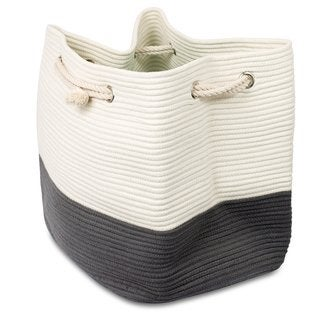 BirdRock Home Cotton Laundry Tote Bag with Rope Handles