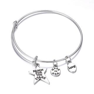 Stars Inspirational Charm Bangle Bracelet
