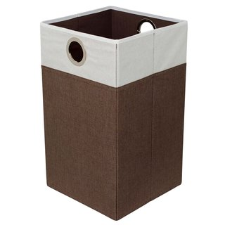BirdRock Home White/Brown Linen Folding Cloth Laundry Hamper with Handles