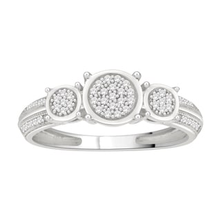 Trillion Designs Sterling Silver 1/8ct TDW Diamond Engagement Ring