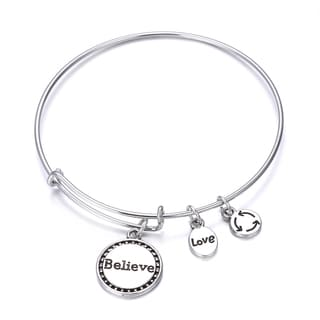 Believe Inspirational Charm Bangle Bracelet
