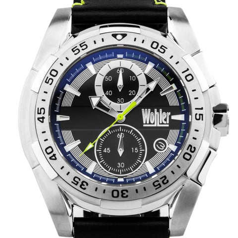 Wohler Otto Men's sport chronograph, genuine leather, exciting colors