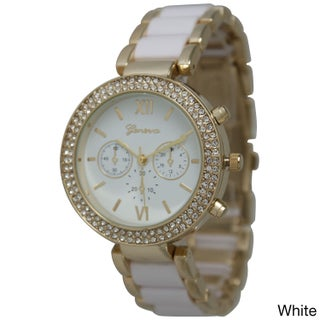 Olivia Pratt Elegant Two-Toned Bracelet Watch (Option: White)