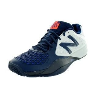 New Balance Men's 996V2 White With Navy Tennis Shoe