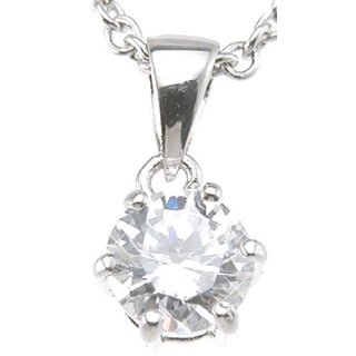 Plutus Sterling Silver Rhodium Finish Brilliant Fashion Prong Pendant