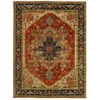 Exquisite Rugs Serapi Red / Blue New Zealand Wool Rug - 9' x 12'