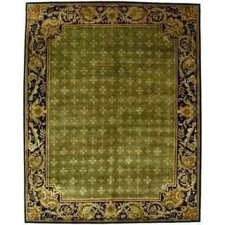 Exquisite Rugs Tibetan-weave Green/ Black Hand-spun New Zealand Wool and Silk Rug (9' x 10')