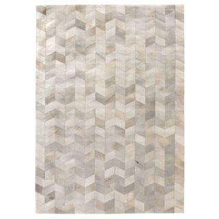 Exquisite Rugs Natural Ivory Hair-on Leather Rug (8' x 11')