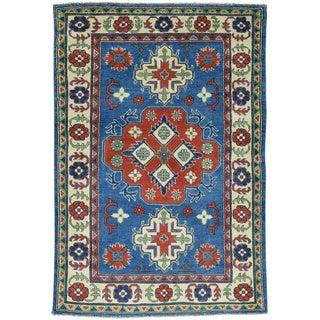 Hand-Knotted Geometric Design Kazak Wool Oriental Rug (4'2x6'1)