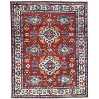 Hand-Knotted Wool Kazak Geometric Design Oriental Rug (5'x6'4)