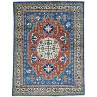 Hand-Knotted Geometric Design Red Kazak Wool Oriental Rug (5'x6'8)