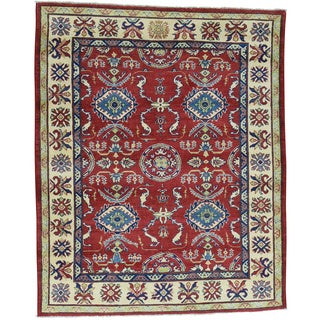 Hand-Knotted Red Kazak Wool Tribal Design Oriental Rug (5'2x6'4)