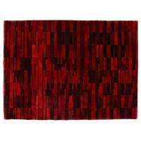 Exquisite Rugs Stitched Blocks Red Leather Hair-on Hide Rug (8' x 11') - 8' x 11'