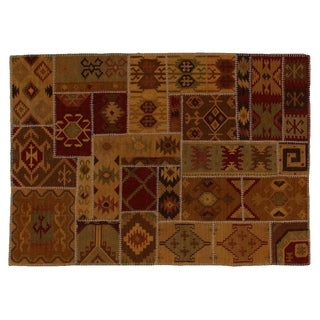 Exquisite Rugs Patchwork Dhurrie Wheat New Zealand Wool Rug (8' x 11')