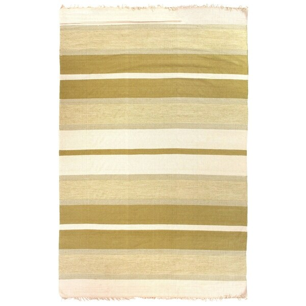 Shop Exquisite Rugs Cotton Dhurrie Green Cotton Rug