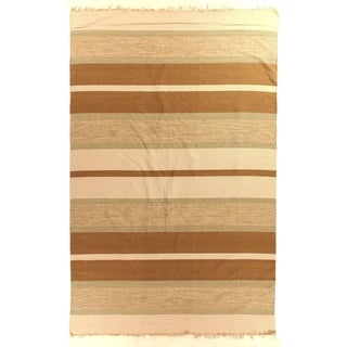 Exquisite Rugs Cotton Dhurrie Brown Rug - 8' x 11'