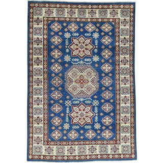 Hand-Knotted Navy Blue Kazak Tribal Design Oriental Rug (5'x7'6)