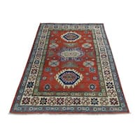 Hand-Knotted Wool Kazak Tribal Design Oriental Rug (3'1x4'10)