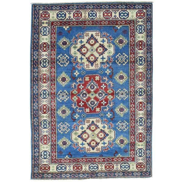 Hand-Knotted Geometric Design Kazak Wool Oriental Rug (4'1x6')