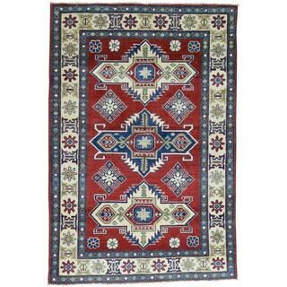 Hand-Knotted Wool Red Kazak Tribal Design Oriental Rug (4'x6')