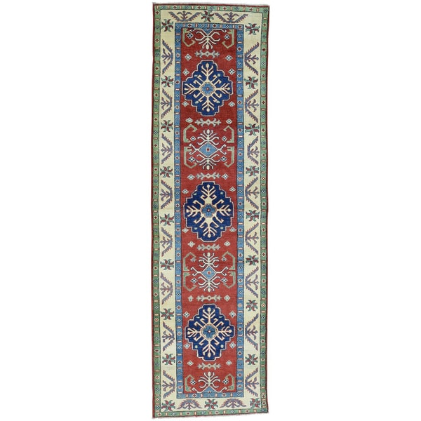 Hand-Knotted Kazak Wool Runner Tribal Design Oriental Rug (2'9x9'9)