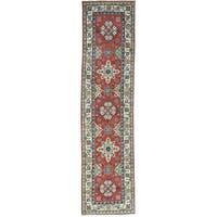 Hand-Knotted Runner Geometric Design Kazak Oriental Rug (2'6x10'5)