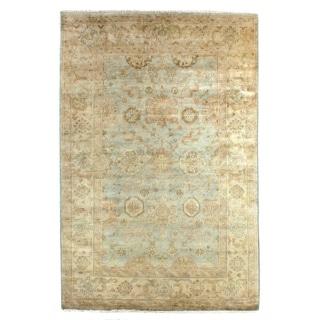 Exquisite Rugs Antique Weave Oushak Light Blue / Ivory New Zealand Wool Rug