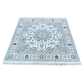 Hand-Knotted Square wool/ silk Nain 300 KPSI Oriental Rug (3'10x4')