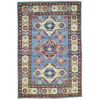Hand-Knotted Kazak Tribal Design Wool Oriental Rug (3'10x5'10)