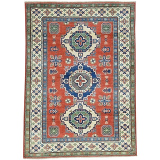 Hand-Knotted Geometric Design Kazak Wool Oriental Rug (4'x5'6)