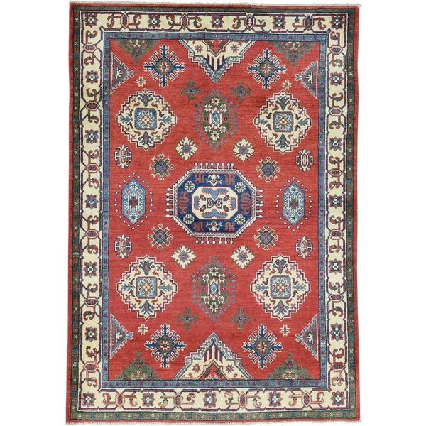 Hand-Knotted Red Wool Kazak Tribal Design Oriental Rug - 4'1x6'