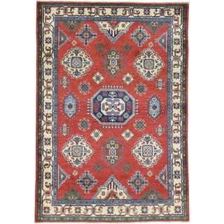 Hand-Knotted Red Wool Kazak Tribal Design Oriental Rug (4'1x6')
