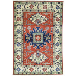 Hand-Knotted Wool Red Kazak Tribal Design Oriental Rug (4'1x6'1)