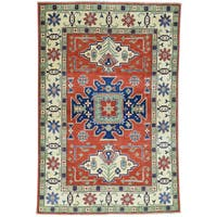 Hand-Knotted Wool Red Kazak Tribal Design Oriental Rug (4'1x6'1)