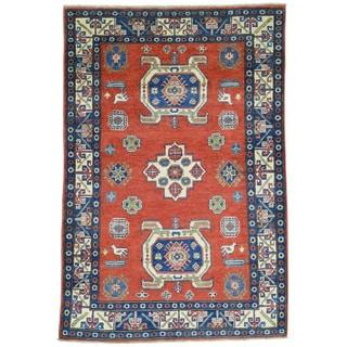 Hand-Knotted Geometric Design Wool Kazak Oriental Rug (4'x6')