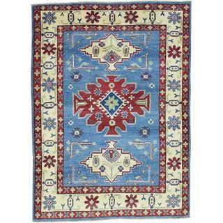 Hand-Knotted Wool Kazak Geometric Design Oriental Rug (4'6x6'2)