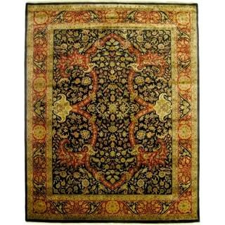 Super Kashan Black New Zealand Wool Rug (9' x 10')
