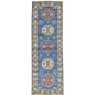 Hand-Knotted Geometric Design Kazak Runner Oriental Rug (2'8x8'2)