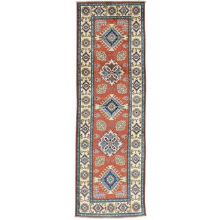 Hand-Knotted Red Tribal Design Kazak Runner Carpet (2'7x8'3)
