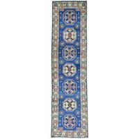 Hand-Knotted Tribal Design Kazak Runner Oriental Carpet (2'7x10'2)