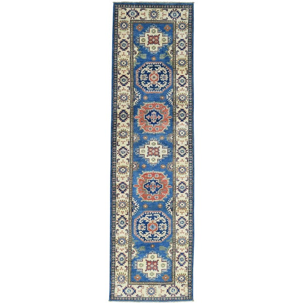 Hand-Knotted Denim Blue Tribal Design Kazak Runner Carpet - 2'8x9'7