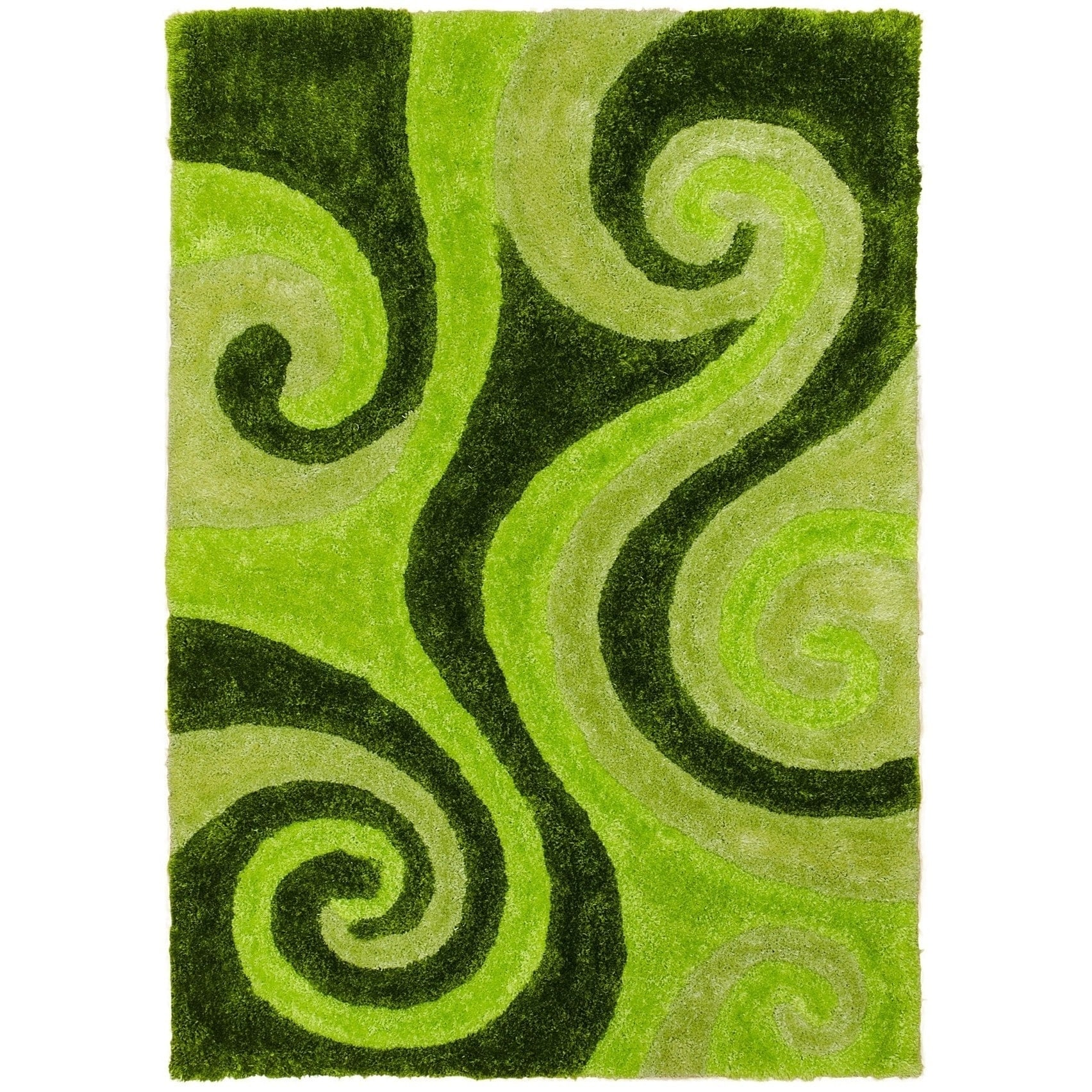 Lyke Home Jumbo Thick Shag Area Rug Green 5x7 - 5' x 7' (...