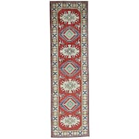 Hand-Knotted Geometric Design Kazak Runner Wool Carpet - 2'8x9'6