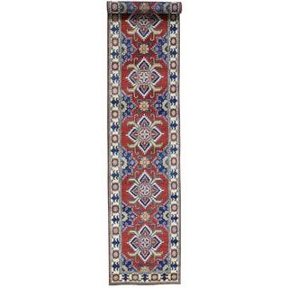 Hand-Knotted Kazak Tribal Design Runner Wool Carpet (2'8x13'8)