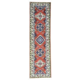Handmade Beautiful Tribal Design Runner Wool Kazak Rug (2'8x9'7)